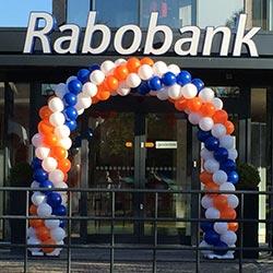 Ballondecoratie Rabobank ballonnenboog