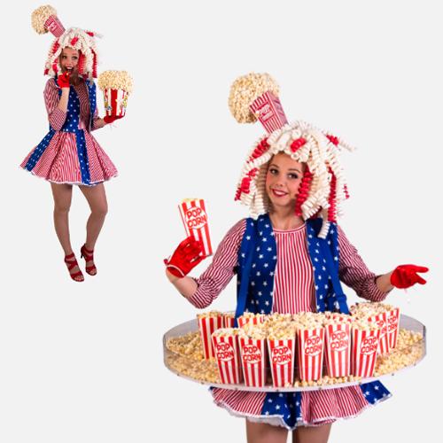Popcorn Hostess Dame uitdeelactie tafeldame