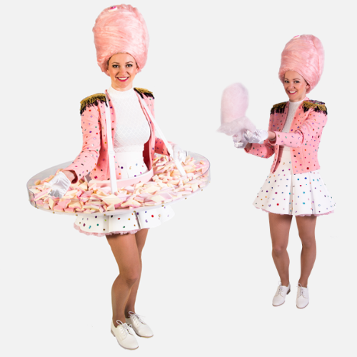 Suikerspinnen snoepgoed dame hostess